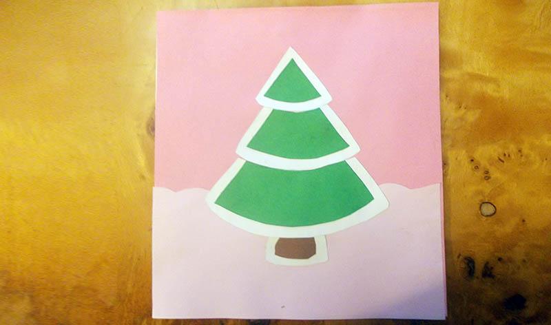 открытка елочка в снегу
