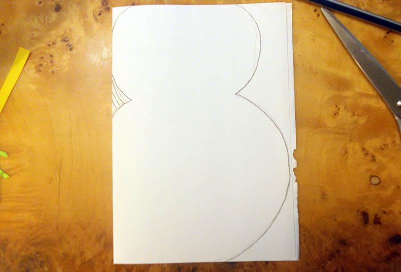 фигурная открытка снеговик