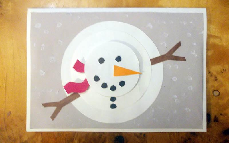 открытка объемная снеговик