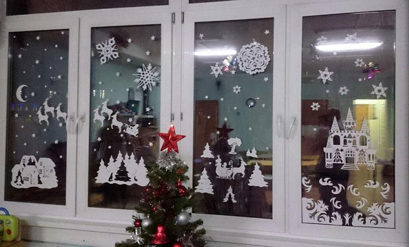 трафареты на окна