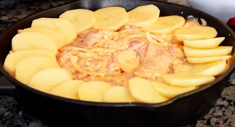 картофель по-французски с курицей