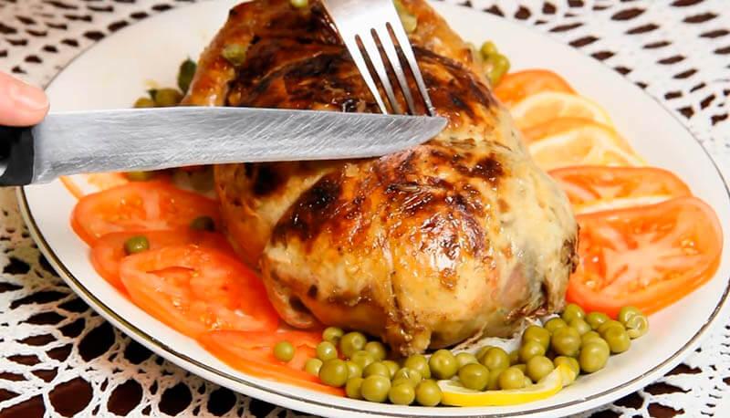 фаршированная курица без кости