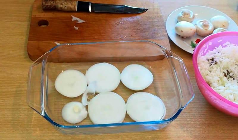 курица с рисом и грибами