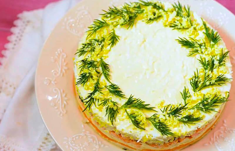 мимоза с горбушей и сыром